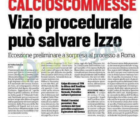Calcio-scommesse, Izzo: